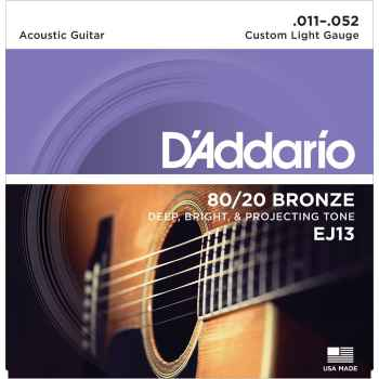 D´addario EJ13 - 80/20 Bronze Custom Light cuerdas guitarra acústica
